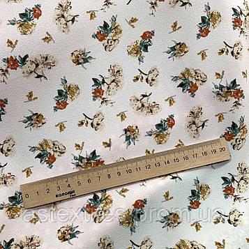 """Костюмна тканина креп """"ПиАшПи"""" принт (на молочному тлі дрібні квіти)"""