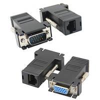 Подовжувач VGA по RJ45 витій парі пасивний, тато-мама, UTP, до 30м