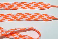Шнурки плоские 12мм, оранжевый + белый