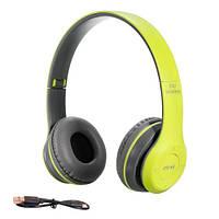 Навушники бездротові Bluetooth гарнітура P47 MicroSD, салатові