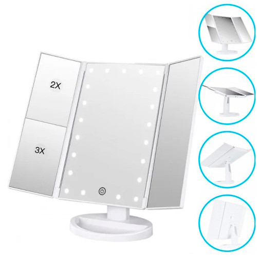 Дзеркало потрійне для макіяжу з LED підсвіткою USB, настільне
