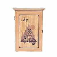 Деревянная настенная ключница Символ мудрости (светлое дерево)