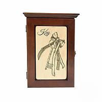 Деревянная настенная ключница Ключ от счастья (темное дерево)