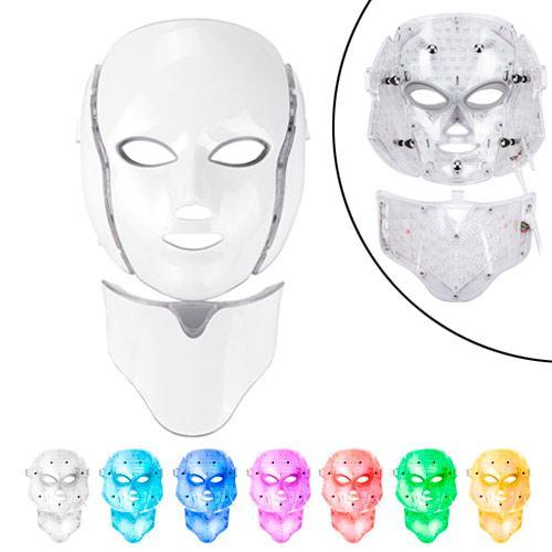LED маска для фотодинамической и микротоковой терапии для лица и шеи 7цв