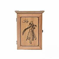 Деревянная настенная ключница Ключ от счастья (светлое дерево)