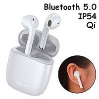 Навушники бездротові, гарнітура з кейсом Baseus Encok W04 Pro Bluetooth, Білі