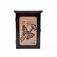 Деревянная настенная ключница Золотой ключик (темное дерево)
