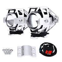 Фари прожектори для мотоцикла CREE U5 LED 12В 3000лм, кнопка, сірі