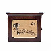 Деревянная настенная ключница Заветный ключ (темное дерево)
