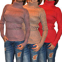 Теплый  свитерок необычного фасона с камнями