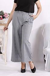 Широкі брюки кюлоти великих розмірів сірого кольору клітка