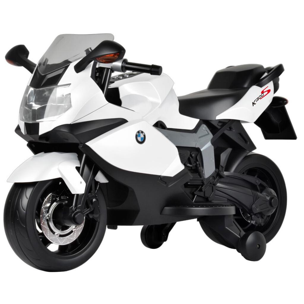 Детский Мотоцикл BMW Z 283 белый, заводится ключом, плавный старт