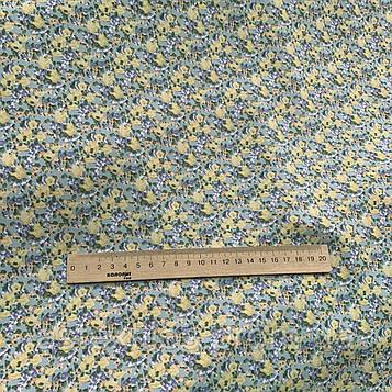 """Костюмная ткань  """"ПиАшПи"""" принт (на оливковом фоне мелкие цветы)"""