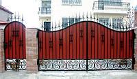 Кованые ворота из профнастила с калиткой