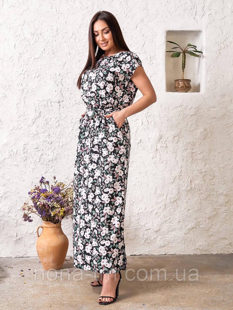 Женское платье в цветочный принт большого размера