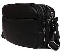 Объемная кожаная сумка через плечо 16,5х23х9см.