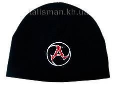 AMATORY-1 (лого) - шапка зимняя вязанная с вышивкой