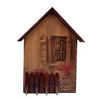 Открытая настенная ключница Деревянный домик (темное дерево)