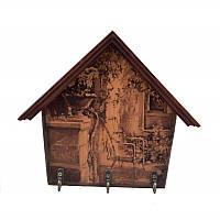 Открытая настенная ключница Уютный дворик (темное дерево)