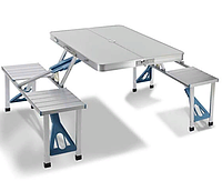 Складной алюминиевый стол для пикника с 4 стульями   Стол для отдыха на природе