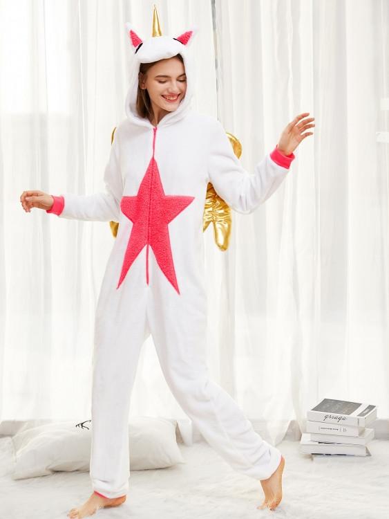 Пижама Кигуруми Единорог белый с крыльями L