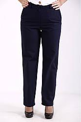 Лляні на літо штани для повних жінок темно-сині