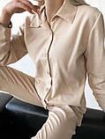 Стильный льняной женский костюм 42-44, 46-48 белый, бежевый, синий, зелёный, фото 2