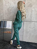 Стильный льняной женский костюм 42-44, 46-48 белый, бежевый, синий, зелёный, фото 9