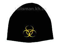 BIOHAZARD-1 (желтый) - шапка зимняя вязанная с вышивкой