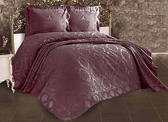 Покрывало жаккардовое с наволочками ZERON Sonil Venus Mor 240x260 см Фиолетовый 1005450, КОД: 1659302