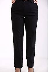 Чорні жіночі брюки батальні з льону