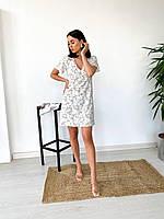 Женское платье летнее с цветочным принтом нарядное Summ белое | Платье женское с рюшами ЛЮКС качества
