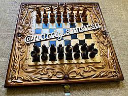 """Шахи-нарди-шашки 3 в 1 """" Дракони Інь - Янь """", ручна робота, фото 3"""