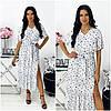 Літнє жіноче плаття біле в горох міді АА/-11427
