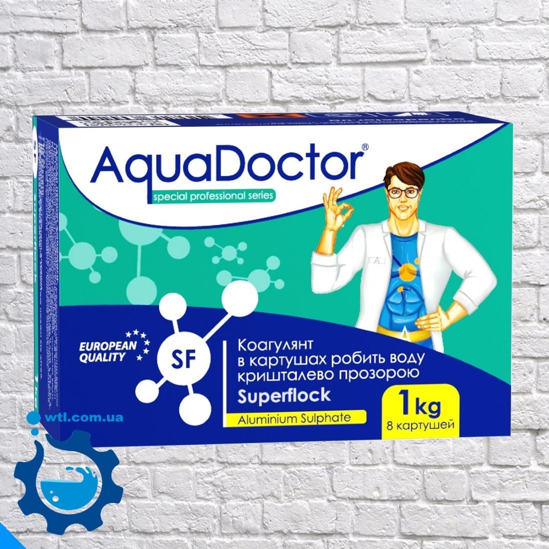 Коагулянт (флокулянт) против мутности в воде Aquadoctor Superflock 1 кг Аквадоктор в картушах