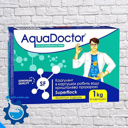 Коагулянт (флокулянт) против мутности в воде Aquadoctor Superflock 1 кг Аквадоктор в картушах, фото 2