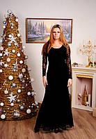 Платье в пол гипюровое черное