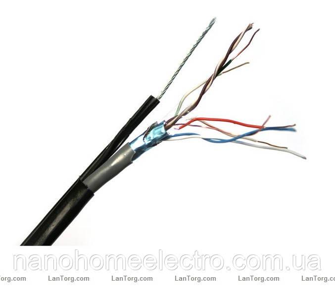 Наружный Кабель с тросом  LogicPower FTP , CCA (биметалл) 4x2x0,51 мм,