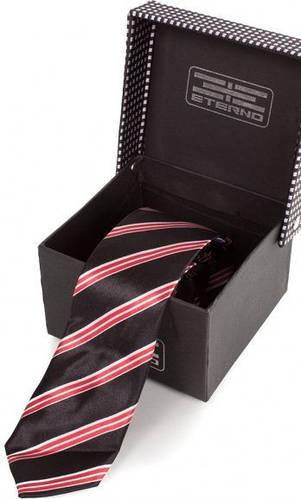 Симпатичный узкий шелковый галстук  ETERNO (ЭТЕРНО) EG616 черный