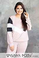 Стильний прогулянковий костюм двійка з контрастними вставками з 48 до 54 розмір, фото 3