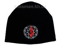 SLIPKNOT-2 (лого с буквой S) - шапка зимняя вязанная с вышивко