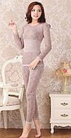Женское термобелье, модальное кружевное нижнее белье (бежевое)