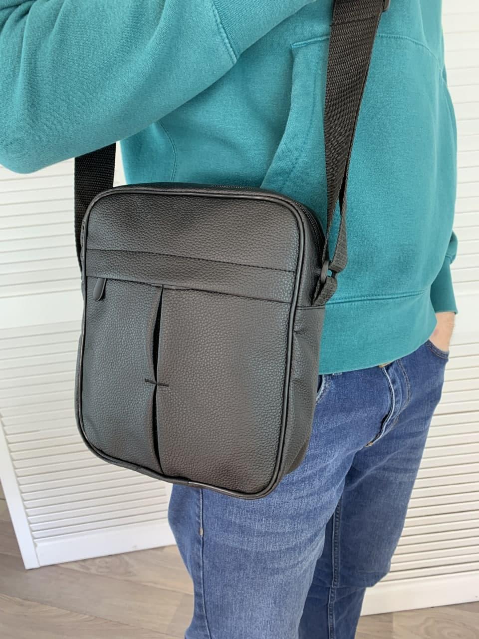 Чоловіча сумка через плече чорна, барсетка стильна, зручна сумка - месенджер