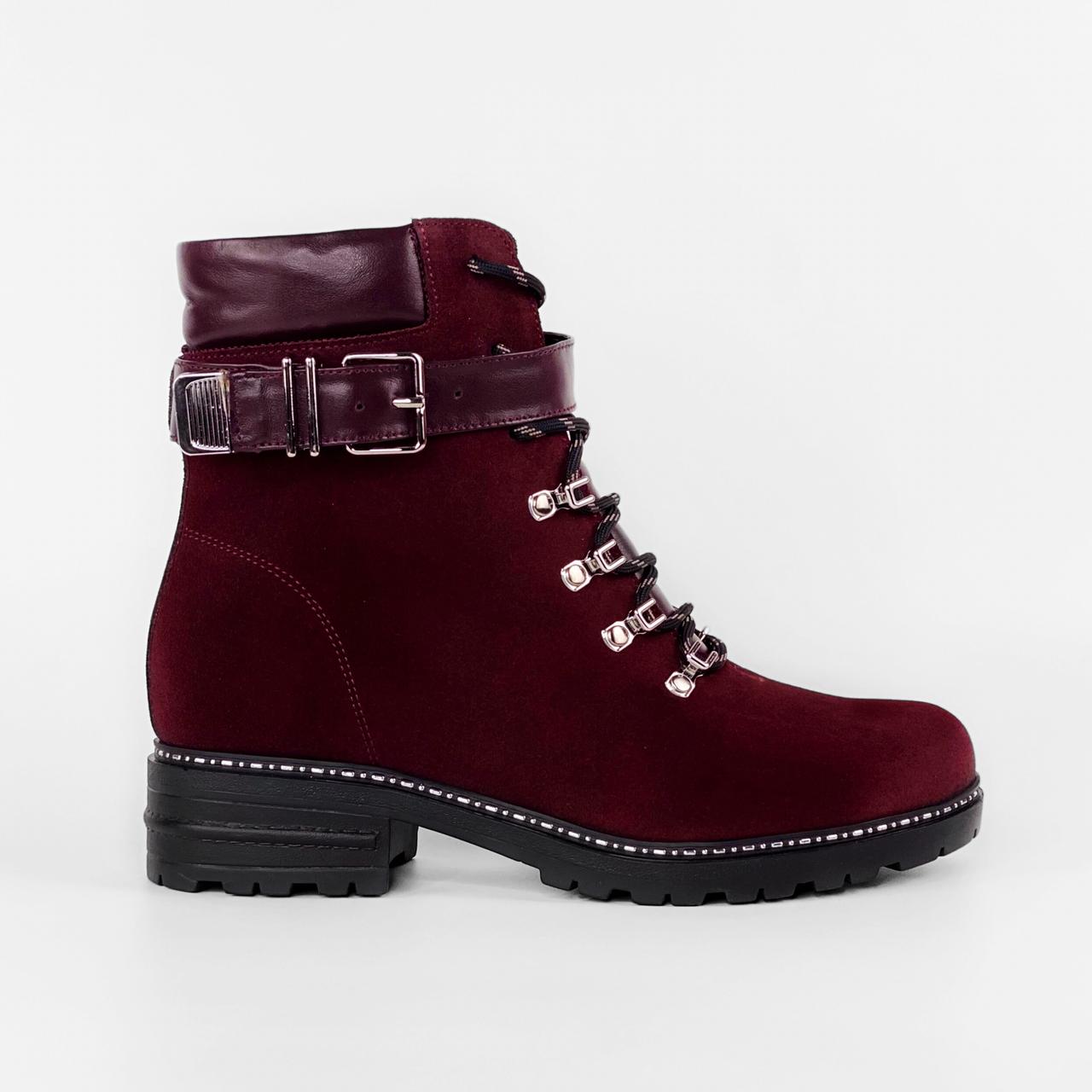 Ботинки женские замшевые бордовые на шнурках с ремнем MORENTO зимние
