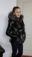 Куртка кожаная женская с мехом чернобурки первого сорта