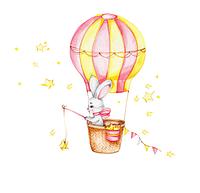 """Декоративные наклейки для детского сада, в детскую на стены """"зайка в воздушном шаре """" 65*80см (лист 30*90см)"""