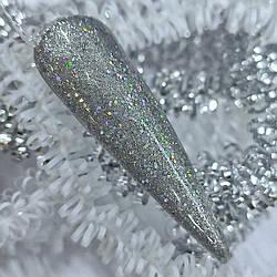 Блестящий гель-лак для ногтей Saga Fianit, 8 мл Серебро Голографика Гель-лак с глиттером с мерцанием