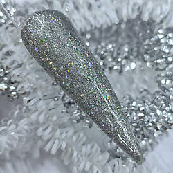 Світловідбиваючий Гель лак SAGA срібло Гель-лаки з ефектом Мерехтіння Гель лак з переливчастими блискіток