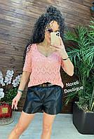 """Жіноча в'язана ажурна футболка """"Жасмин"""" (6 кольорів), фото 1"""