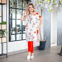 Стильный женский костюм: длинная блуза-туника с разрезами по рукавам и зауженные брюки, батал большие размеры